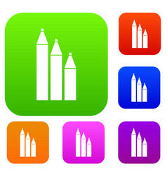 Three pencils set collection vector