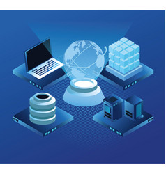 Virtual technology computer and servers vector