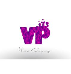 Vp v p dots letter logo with purple bubbles vector