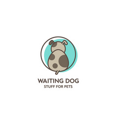 waiting dog logo goods for pets emblem vector image