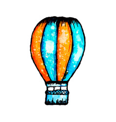 Watercolor hot air balloon vector