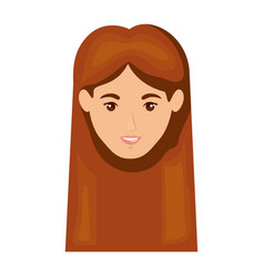 white background of smiling redhead woman face vector image