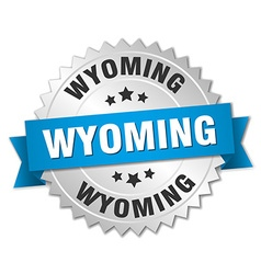 Wyoming round silver badge with blue ribbon vector
