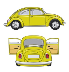 Yellow retro car vector image