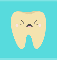 Yellow tooth icon sad face crying bad ill teeth vector