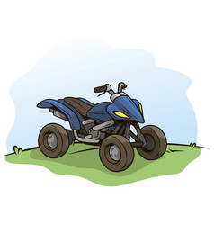 cartoon blue modern offroad quad motorbike vector image