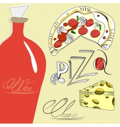 pizza cheese and wine vector image vector image