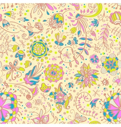 seamless floral doodle background vector image