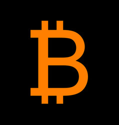 bitcoin sign orange icon on black background old vector image