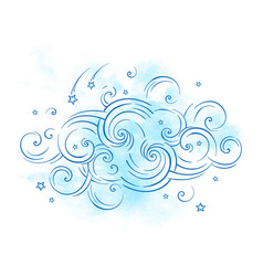 blue dream cloud and shooting stars boho doodle vector image