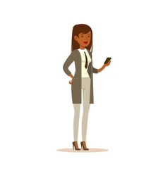 Businesswoman Checking The Phone Business Office vector image vector image