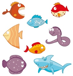 Cartoon fishes doodle icon set vector image