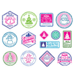 christmas santa postage letter stamps winter vector image