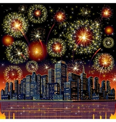 Firework City At Night vector image vector image