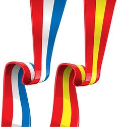 france and spain ribbon flag vector image