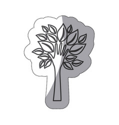 silhouette tree with leaves and stem in form hand vector image
