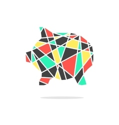 colored broken piggy bank with shadow vector image vector image