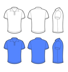 Front back and side views of blank polo vector image vector image