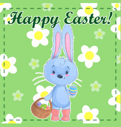 greeting post card template happy easter with cute vector image vector image