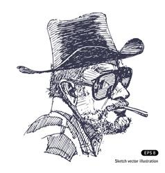Man with hat sunglasses and beard smoking cigar vector