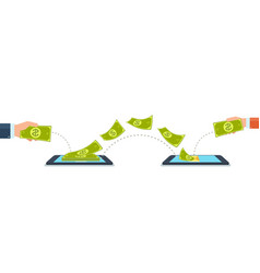 Send and receive money using mobile phones vector