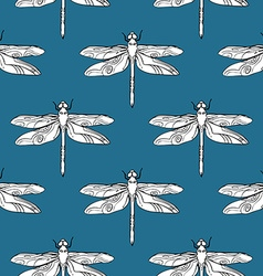 Dragonfly seamless pattern hand drawn vector image