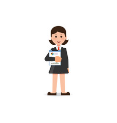 happy business woman in suit standing with vector image