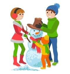 Happy family sculpts snowman merry christmas vector