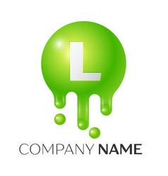 l letter splash green dots and bubbles letter vector image vector image