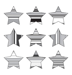 Striped Black And White Star Icon Set vector image