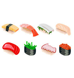 sushi different colorful isolated vector image