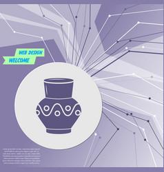 vase amphora icon on purple abstract modern vector image