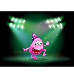 A monster dancing in the middle of the stage vector