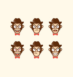 abstract head cowboy template vector image