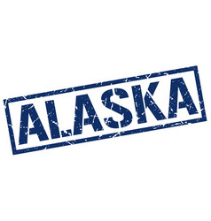 Alaska blue square stamp vector