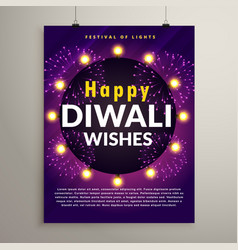 amazing diwali festival flyer design template vector image