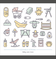 Baby care line icons with editable stroke vector