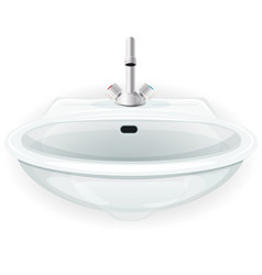 Bathroom sink with tap vector