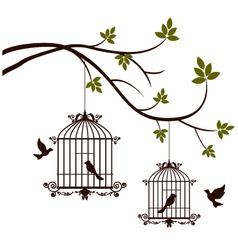 beauty tree silhouette with birds flying and bird vector image