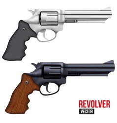 Big Revolver Silver bright metal vector image