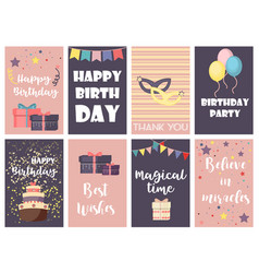 Birthday greeting cards design happy party vector