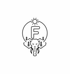 Black line art elephant head with f initial vector