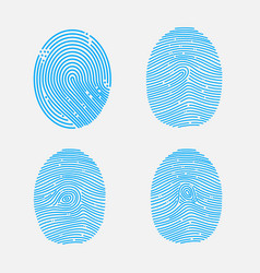 blue fingerprint shapes set vector image
