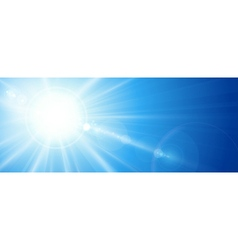 Blue sky with sun lens flare vector image