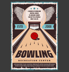 Bowling recreation center shoes and lane rental vector