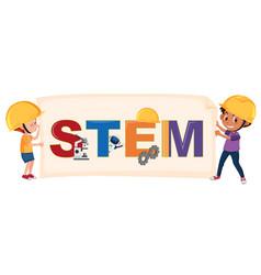 Boys holding stem logo vector