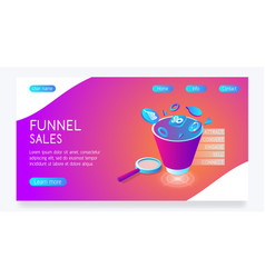 Bright website with funnel sales e vector
