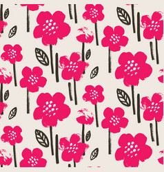 Brush textured flower pattern vector