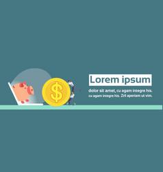 businessmen rolling dollar coin laptop screen vector image