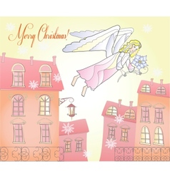Card with Christmas Angel at the City vector image